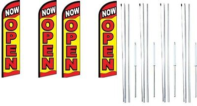 Now Open Red Yellow Windless Flag With Complete Hybrid Pole Set- 4 Pack