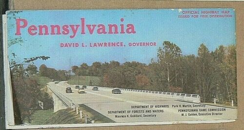 1959 Map of Pennsylvania Official Road Map