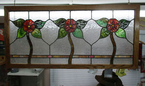 "Leaded stained glass windows 18"" x 38"""