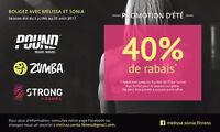 Bougez avec Mélissa et Sonia - PROMOTION ESTIVALE 40% de rabais