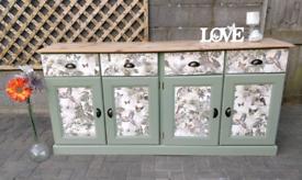 Solid Pine REFURBISHED Jungle Decoupage Sideboard Dresser