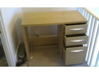 Wood Study Desk, 3 drawers with free chair