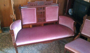Antique loveseat and chair