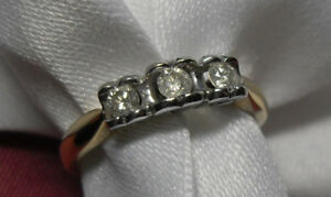 "10kt yellow gold ""Trinity"" Diamond Engagement Ring/Size 7"