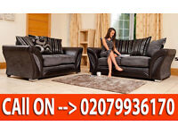 NEW SHANON FABRIC LEATHER 3 2 SEATER SOFA IN BLACK GREY