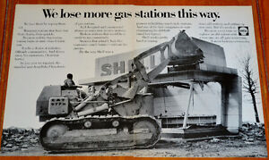 1968 SHELL GAS STATION AD WITH CAT BULLDOZER - ANONCE RETRO