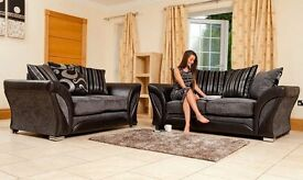 SUPERB SALE SHANON SOFA 3 AND 2 SEATER SOFA OR CORNER SOFA AVAILABLE IN BLACK AND GREY COLOUR