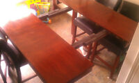 8 faux leather seat pub style real dark wood dining table