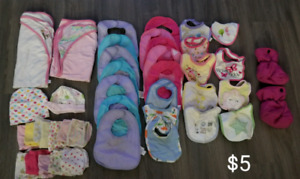Baby bibs, towel, face clothes