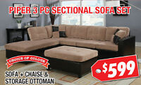 Piper 3pc Fabric Sectional Set, $599
