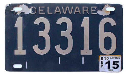 Delaware 2015 Historic 1950s Design Shorty License Plate Stainless Steel Numbers