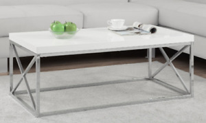 Elegant WHITE & Chrome Coffee/End Tables