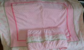 Lovely Pink Mothercare Cot Bumper and Matching Blanket