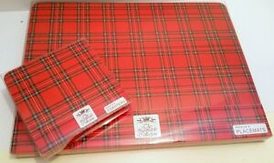 New 8 Piece Red Tartan Dinner Table Mat Placemats & Drinks Coaster Set