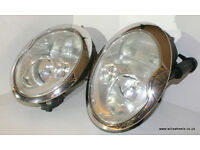 BMW Mini R50 Cooper S R53 Xenon Projector Headlights & Chrome rings with washers
