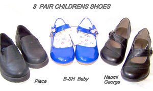 Children's Shoes, 3 pairs, girls, Euro sizes check measurements
