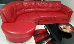 Nick Scali Red Leather Lounge Ningi Caboolture Area Preview