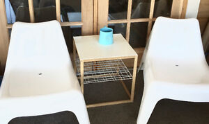 Conversation set: 2 Trendy while chairs & table