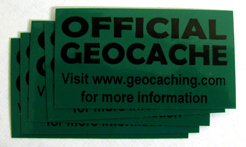 20 x Cache stickers for Geocaching black print on green