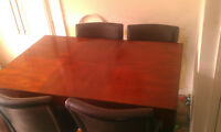 8 faux leather seat pub style dark wood dining table
