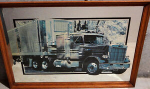 Wooden framed decorative mirror back truck print wall hanging London Ontario image 3