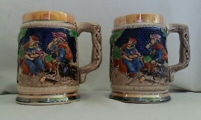 2 VINTAGE GERMAN STYLE CERAMIC BEER STEIN MUGS MADE IN JAPAN