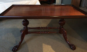 Antique Mahogany Claw Foot Coffee Table