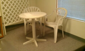 Plastic Patio Table with 2 chairs