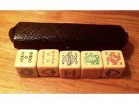 Antique bone poker dice. Cased.