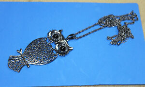 "Owl Necklace Silver tone 36"" long"