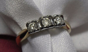 "10kt yellow gold ""Trinity"" Diamond Engagement Ring - Size 7"