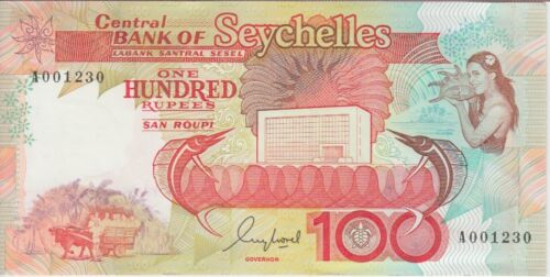 Seychelles Banknote P35 100 Rupees prefix A, Low serial number, UNC