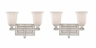 Nickel Finish Bath Fixture - Quoizel NL8602BN Two Light Vanity Bath Fixture, Brushed Nickel Finish - 2 Pack
