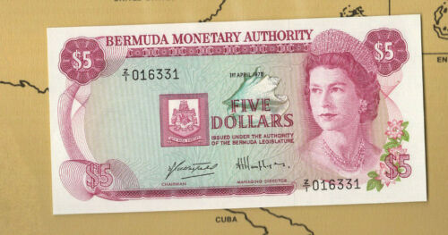 Banknotes of World Bermuda P 29ar $5 Replacement 1.4.1978 QE II Z/1 016331