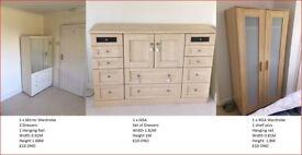 2 x wardobe and 1 set of drawers