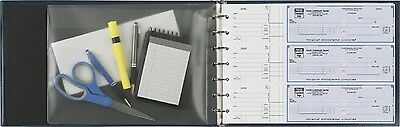 7-ring 3-on-a-page Business Check Book Binder Vinyl Pouch Office Supplies - Blue