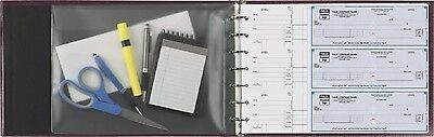 7-ring 3-on-a-page Business Check Book Binder Vinyl Pouch Office Supply Burgundy