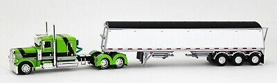 DCP 1:64 LIME GREEN Peterbilt 389 Semi WHITE Lode King Distinction Grain Trailer