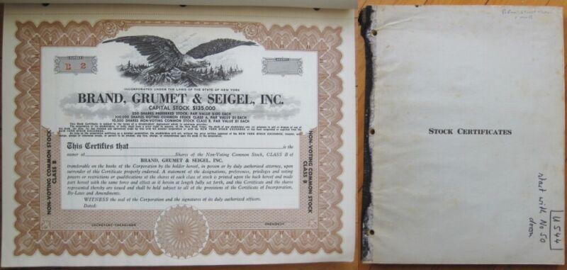 Stock Certificate 1940s Book of 49 PIECES: Brand, Grumet & Seigel - Securities