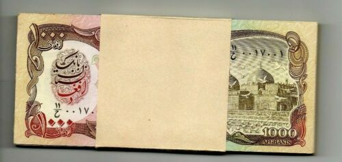 AFGHANISTAN Middle East UNC 1000 Afghanis  p-61 full bundle of 100 banknotes