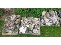 FLINT. ROCKS/STONES. 3 SMALL PALLETS IDEAL FOR ROCKERIES, WALLS etc.