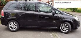 black vauxhall zafira DESIGN model. very good condition.immaculate interior.90000 miles 2 owners