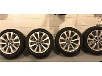 "Genuine Bmw Runflat Winter Wheels 8j 5x120 18"" Alloys with Run Flat Winter Tyres 245/45/18"