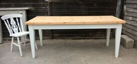 Large 6ft Farmhouse Dining Table *FREE DELIVERY* Vintage White Solid Pine ~ Chic (not shabby oak)
