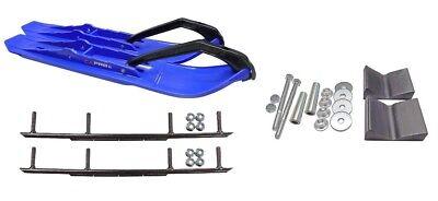 "C&A Pro Blue XCS Snowmobile Skis w/ 8"" Round Bars Complete Kit"
