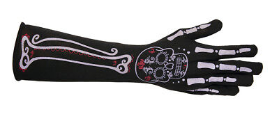 Lang Skelett Tag der Toten Damen Erwachsene Kostüm Handschuhe