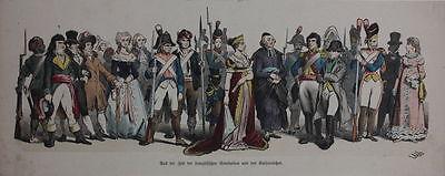 Kostüme aus der Zeit der französischen Revolution - Kolorierter Holzstich