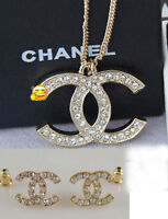 Chanel 18k White or Yellow Gold Earrings & Necklace Designer New