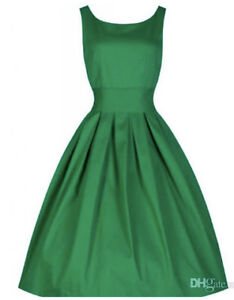 SUMMER GREEN HEPBURN STYLE RETRO DRESS