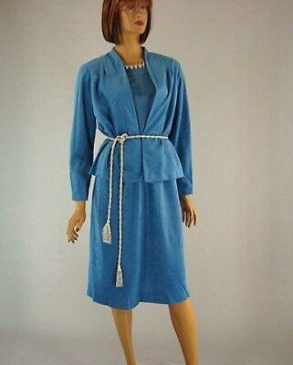 Vintage 70s Blue Faux Suede 2 Piece Short Sleeve Dress Suit Jacket Blazer s 14 2 Piece Faux Suede